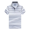 men's T-shirt stripe short-sleeved t-shirt lapel men t shirt Men's business casual t shirts