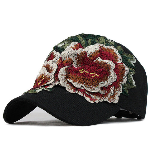women embroidery baseball caps with Flower Hats for womens gorras fall Hat  for womens jean Snapback a9b50455f4