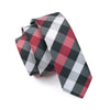 Men`s Tie  Silk Skinny Narrow Red Black Plaid Check Classic Woven Necktie For Men