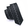 Black Causal Men`s Tie Skinny Necktie Locate Pattern Slim Tie Silk For Wedding Groom Bussiness Party