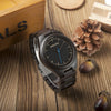 Ebony Wood Quartz Men's Dress Wristwatch Analog Movement With Wood links In Round Bamboo Box