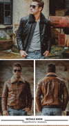3 colors Men's real leather jacket Genuine Leather motorcycle jacket air force flight jackets aviator coat men