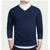 Casual Classic College Sweaters Men V-neck Formal Pullovers Winter Slim Fit Design Gray Knitwear Men Solid