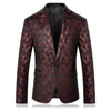 Men Slim Fit Men Burgundy Blazer Stage Jacket Party Prom Blazers Fashion Printed Casual Suit