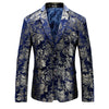 Men's Velvet Floral Design Slim Fit Blazer