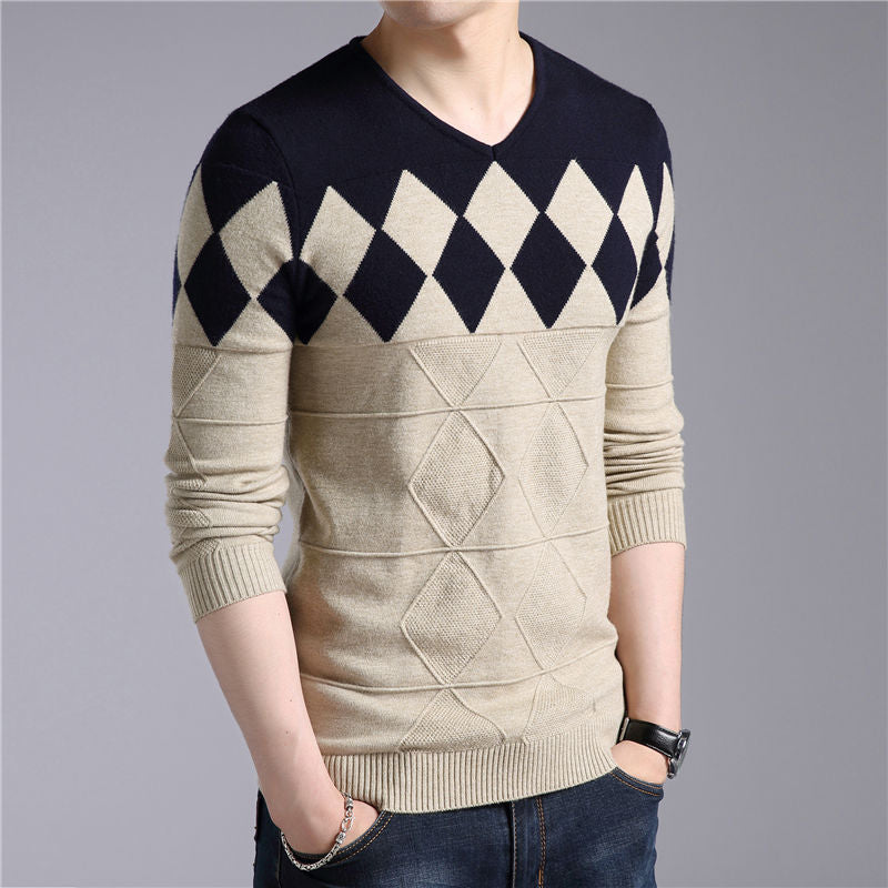 Cashmere Wool Sweater Men Winter Slim Fit Pullovers Men Pattern V