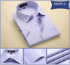 Mens Short Sleeve Shirts Twill Fashion Solid Color Turn-down Collar Regular Fit Business Casual Mens Dress Shirt