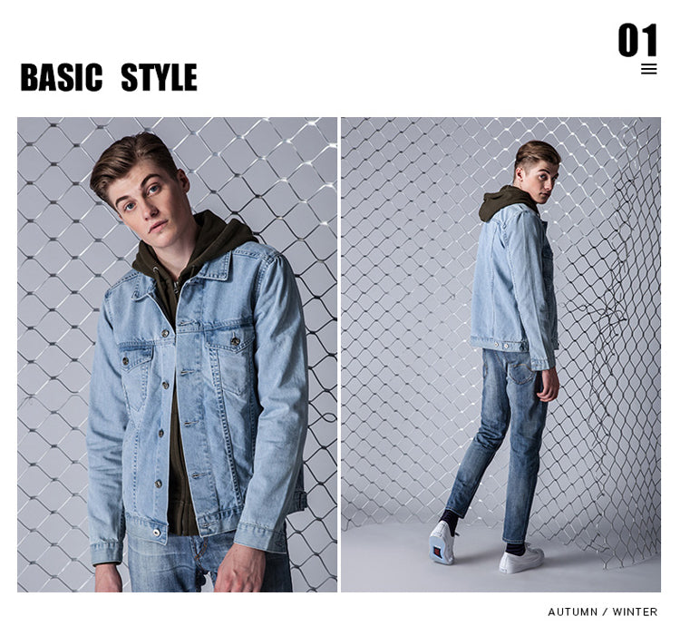 New Arrival Denim Jacket Coat Men Light Washed Denim Jacket Men S