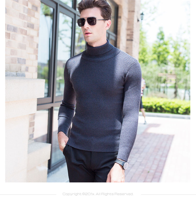 51902f564f Turtleneck Sweater Men Christmas Thick Warm Cashmere Sweaters Slim Fit Pull  Home Knitted Wool Pullover Men