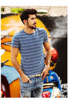 New Mes T shirt Summer Short sleeve O-neck Slim Fit Striped Casual Men T-shirts Tops Tee