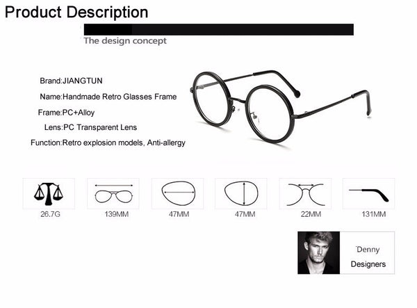 05fd943a92e8 Women Men Big Round Glasses Frames Newest Purely Handmade Vintage Opti -  ThreadCreed