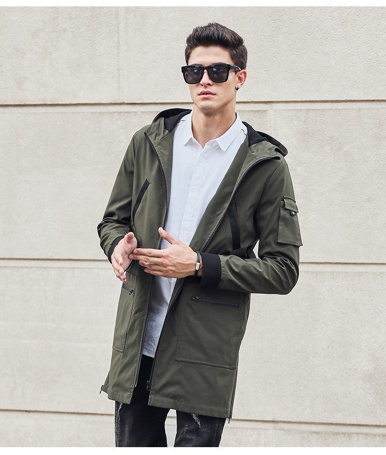 wholesale online well known outlet online new trench coat men clothing Top Quality male long army green trench coat  windbreaker jacket