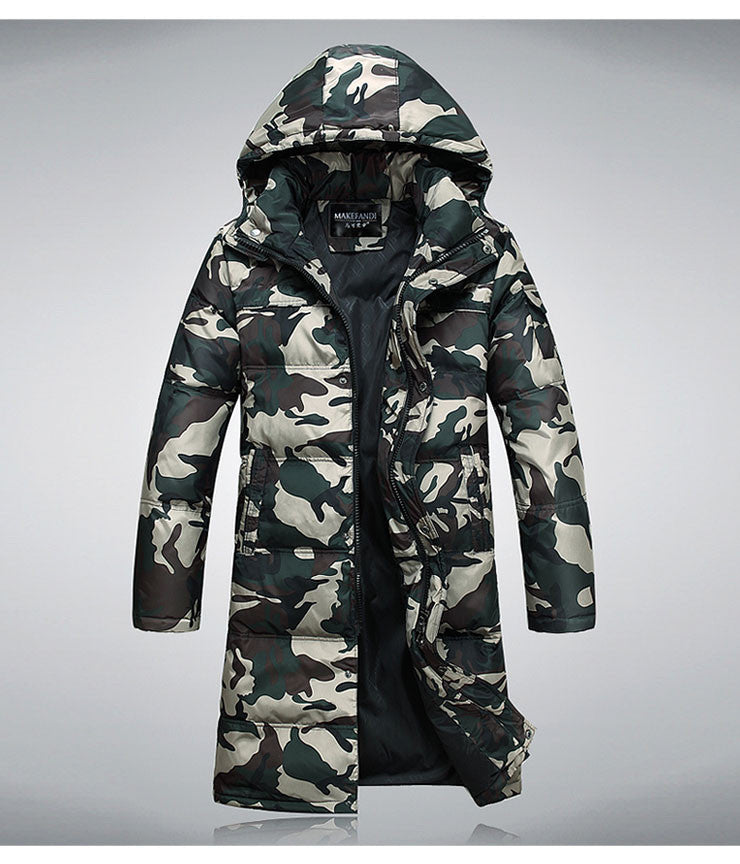 c102c67117a7c male fashionable casual thickening down coat Camouflage down Jacket Long Winter  parka coat for men