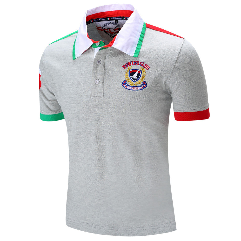 450b296f0713 Men Polo Shirt Mens Solid Polo homme Casual Short Sleeve Tops for Man  Patchwork 100%