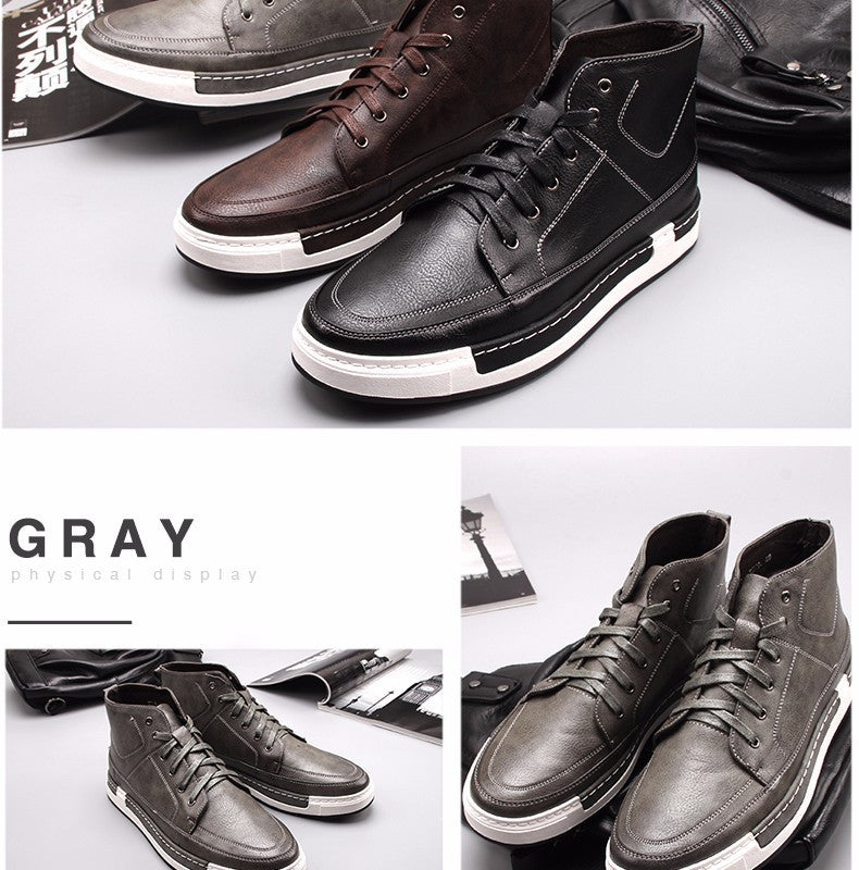 1adcd5c35ba2 Autumn New high-top Men s Ankle Boots Fashion Tie Casual Non-slip  Waterproof Snow