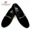 new three color handmade men velvet shoes with gold and sliver strap Party Wedding and Banquet Men Plus size Loafers