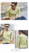 New Arrival Spring Autumn Fashion V-Neck Slim Fit Long Sleeve T Shirt Men Trend Casual Men T-Shirt