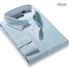 Autumn Men's Blue/white Pinstriped Double Layered Collar Dress Shirt Cotton Blend Regular-fit One-Pocket Button Down Shirts