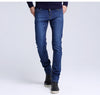 Men jean New Fashion Men Casual Jeans Slim Straight High Elasticity Feet Jean Loose Waist Long Trousers