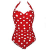 Swimwear Women Sexy One Piece Polka Dot Swimsuit Halter Bandage Push Up Retro Swim Bathing Suit