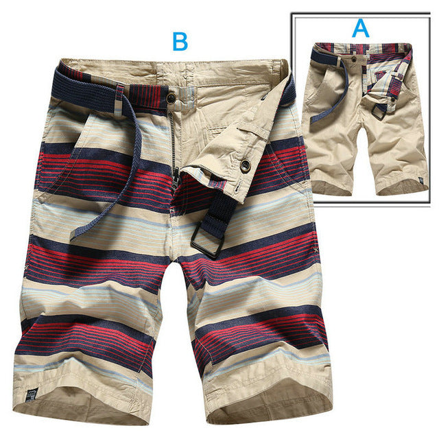 66f4ad000bf Summer Cotton Striped Casual Shorts Men High Quality Cargo Shorts Beach Male  Shorts Double-Sided