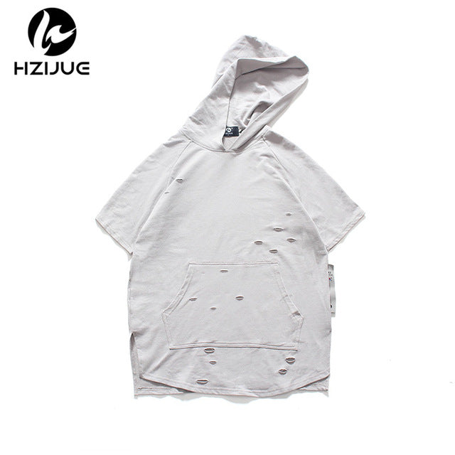 0a087f2f2338 Men Summer Men Ripped Hole Loose Casual Tops Summer Streetwear Hooded T  shirt
