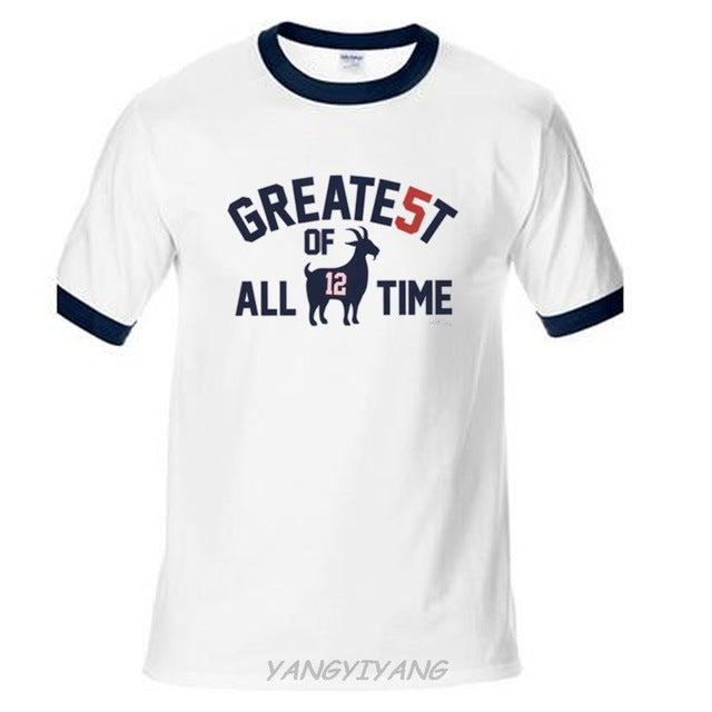 outlet store cb503 d3636 Patriots Champions Tom Brady GOAT Greatest of All time T Shirt Men cotton  top tees summer t shirt