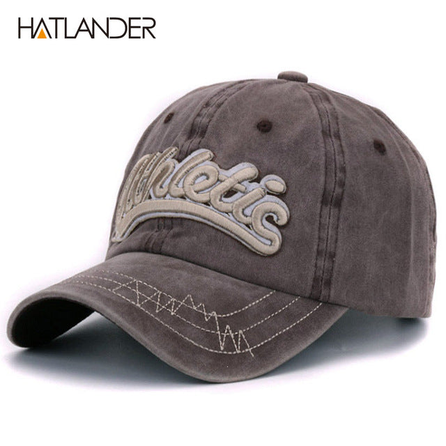 b4319f039cc Cotton washed baseball caps men casual sports hats women 3D embroidery  letter curved dad hat cap