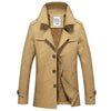 Autumn Medium Long Trench Coat For Men Slim Fit Thick Warm