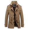 Casual Medium Long Lining Thick Warm With Belt Men Trench Coat Winter