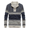 Autumn Winter Long Sleeve Jacquard Sweater Men Contrast Color Zipper