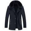Casual Big Fur Collar Coat Men Wool Thick Warm Men Jackets And Coats