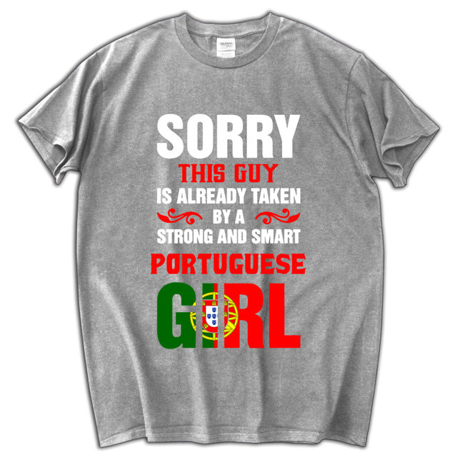 6f820c82 this guy is already taken a portugal girl men t shirt funny fashion luxury  male top