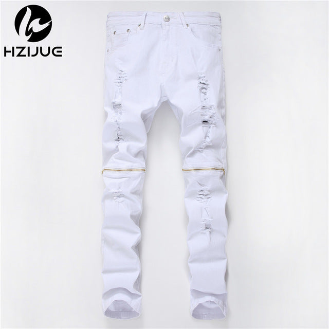 aba37dd5381d1 Ripped Jeans Men With Holes zipper Skinny Designer Slim Fit Destroyed Torn Jean  Pants For Male