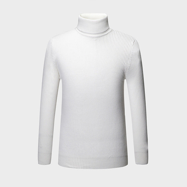 3ba89203196b Autumn Winter Sweater Mens Turtleneck Solid Color Slim Fit Winter Pullover  Men Trend Knitted Sweater Men