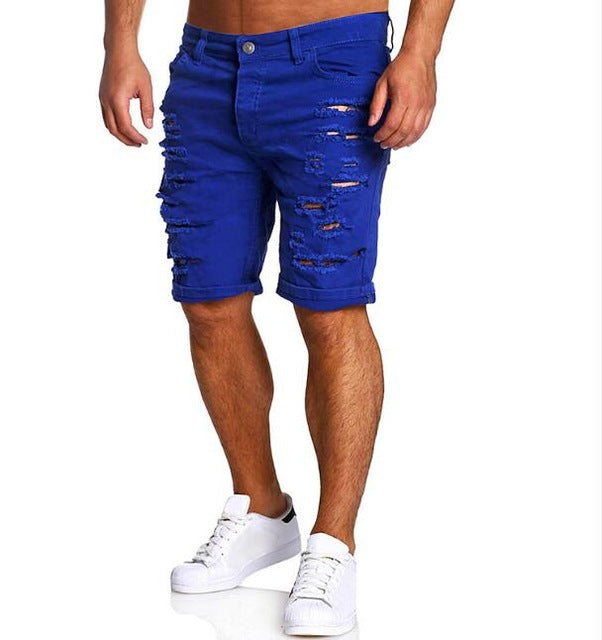 a0178003ae Men Shorts Cotton Summer New Holes Jeans Shorts Fashion Designers Shorts  Jeans Men s Slim Jeans Shorts