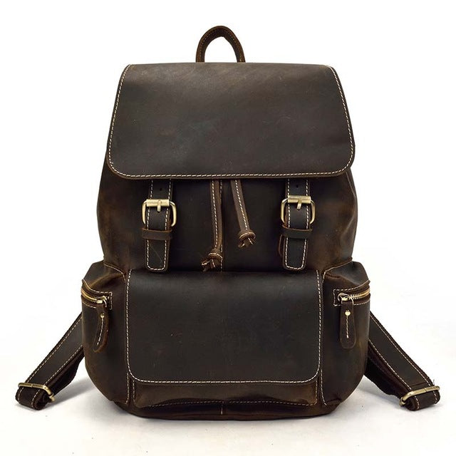 3206da08c5 Vintage Crazy Horse Leather Backpack Thick Genuine Cow Leather Women School  Rucksack Laptop Travel Backpack