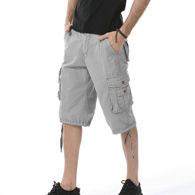 27e99cbba13 Summer Fashion Cargo Shorts Men Casual Cotton Solid Shorts Multi-pocket Man  Bermuda Shorts