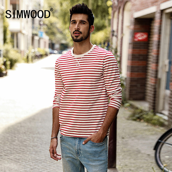 69f221aa5 Long Sleeve T Shirts Men Autumn New Slim Fit Pure Cotton Striped Breton Top  Male T