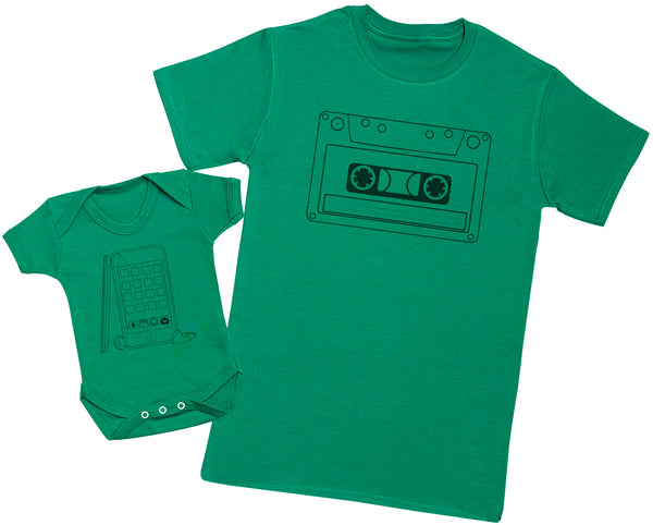 Cassette Tape And Phone - Passende Vater Baby Geschenkset Baby Body