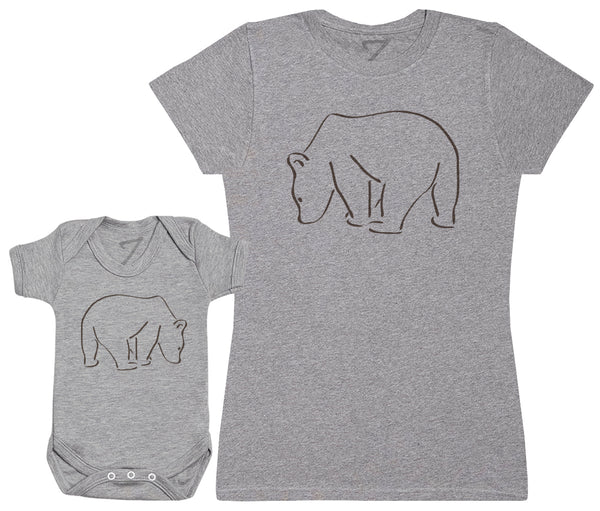 Bear And Mama Bear - Damen T-Shirt & Baby Strampler