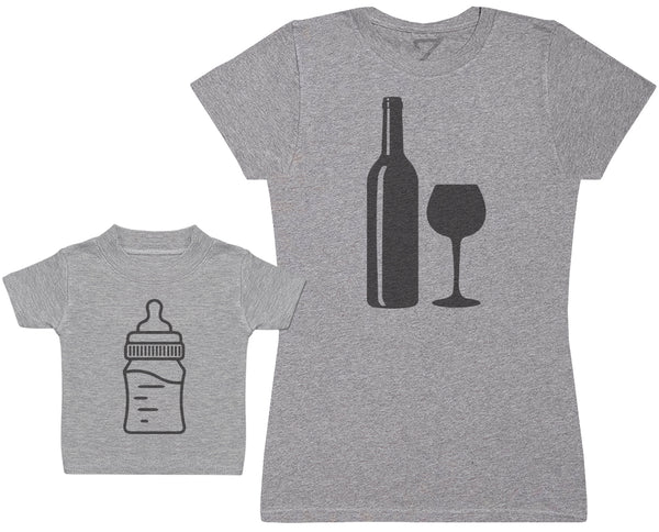 Milk Bottle And Wine Bottle - Damen T-Shirt & Baby T-Shirt