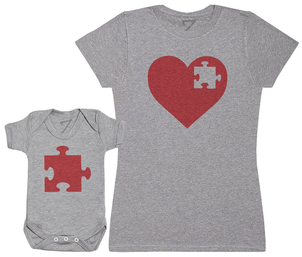 Heart And Puzzle Piece - Damen T-Shirt & Baby Strampler