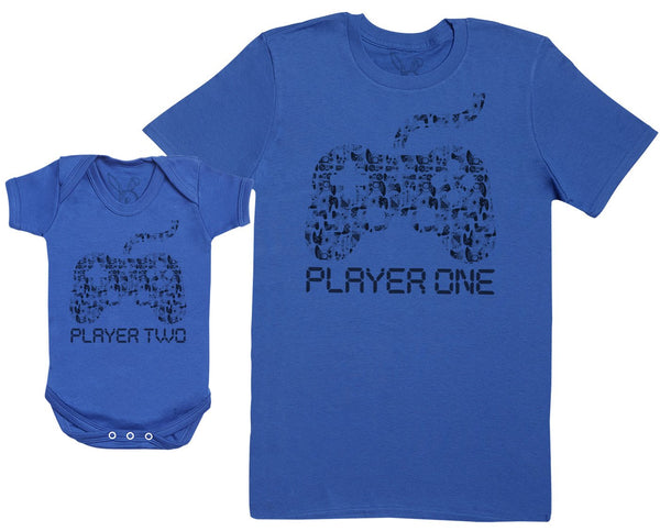 Player One & Player Two - Passende Vater Baby Geschenkset Baby Body