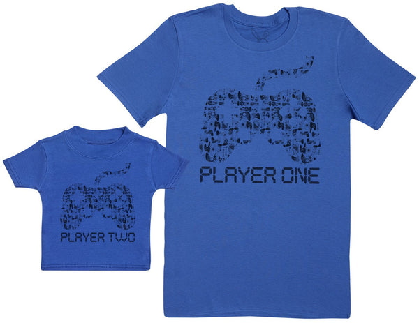 Player One & Player Two - Passende Vater  Baby Geschenkset Baby T Shirt