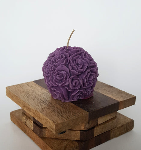 Mini Round Rose ~ Purple Candle, Bear & Bee Shop, Bear & Bee Shop - Bear & Bee Shop