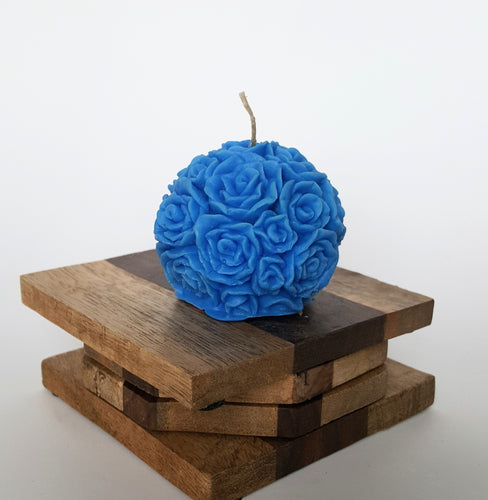 Mini Round Rose ~ Blue Candle, Bear & Bee Shop, Bear & Bee Shop - Bear & Bee Shop