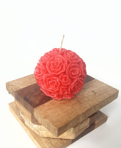 Mini Round Rose ~ Red Candle, Bear & Bee Shop, Bear & Bee Shop - Bear & Bee Shop