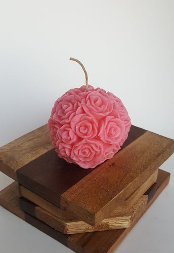 Mini Round Rose ~ Pink Candle, Bear & Bee Shop, Bear & Bee Shop - Bear & Bee Shop