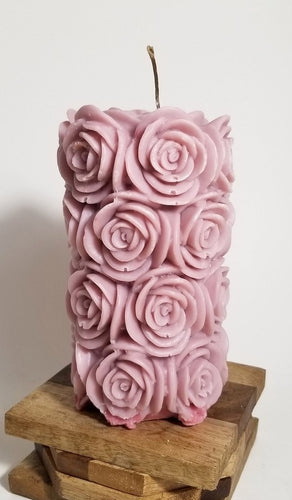 Rose Pillar ~ Dusty Pink Candle, Bear & Bee Shop, Bear & Bee Shop - Bear & Bee Shop